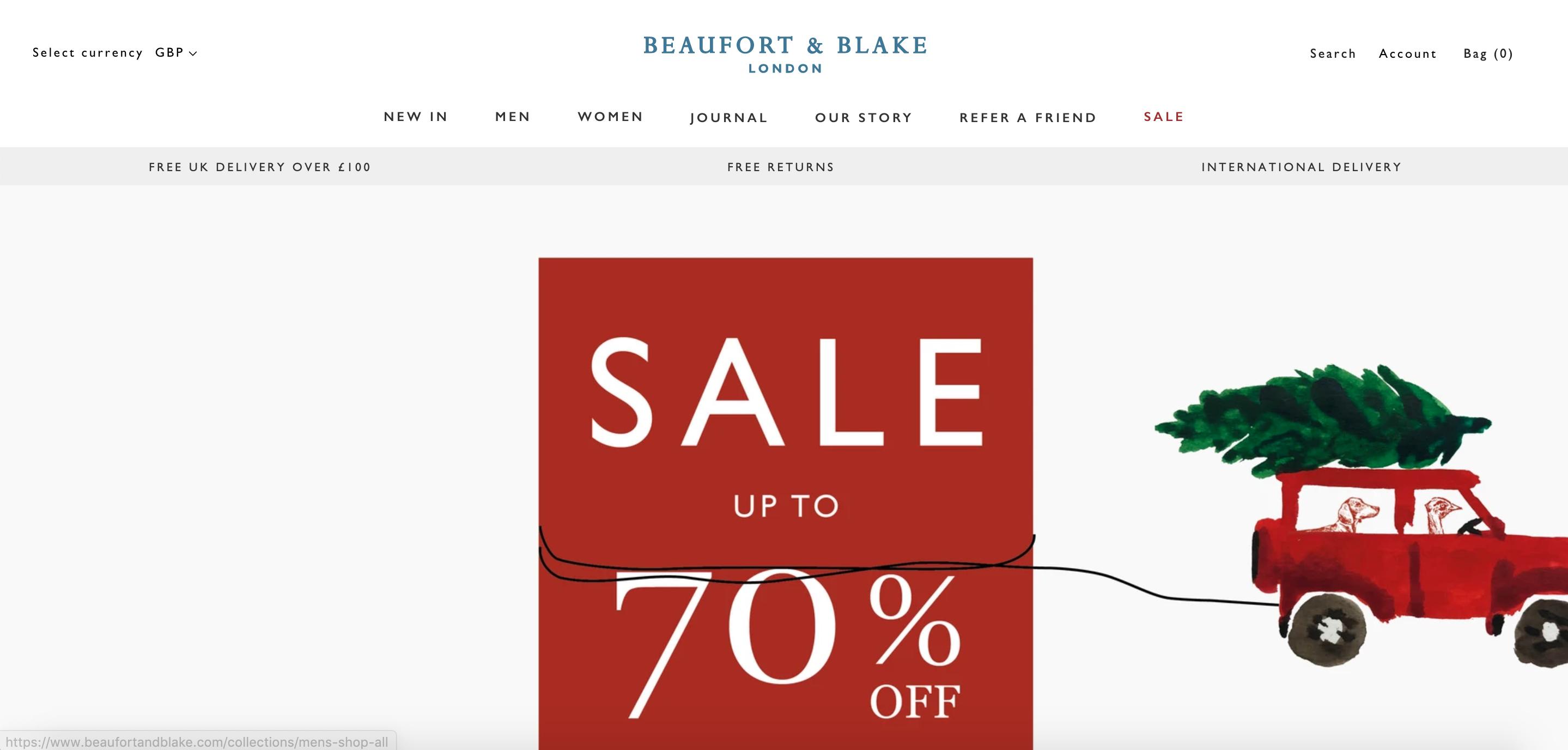 Beaufort Blake homepage referral promotional strip