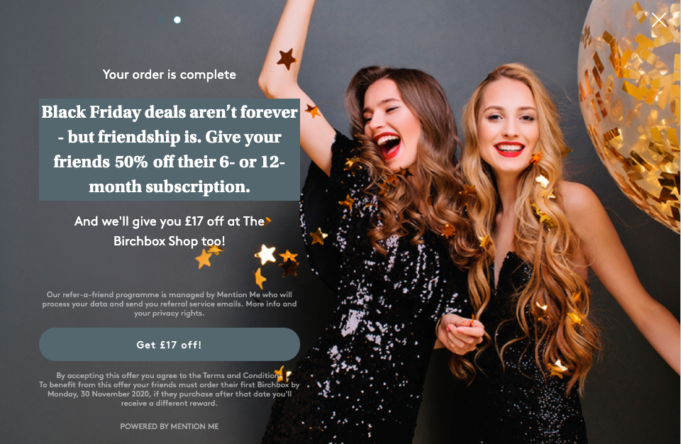 Birchbox Black Friday referral campaign