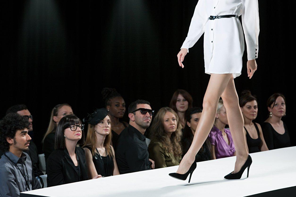 Model on catwalk during fashion week
