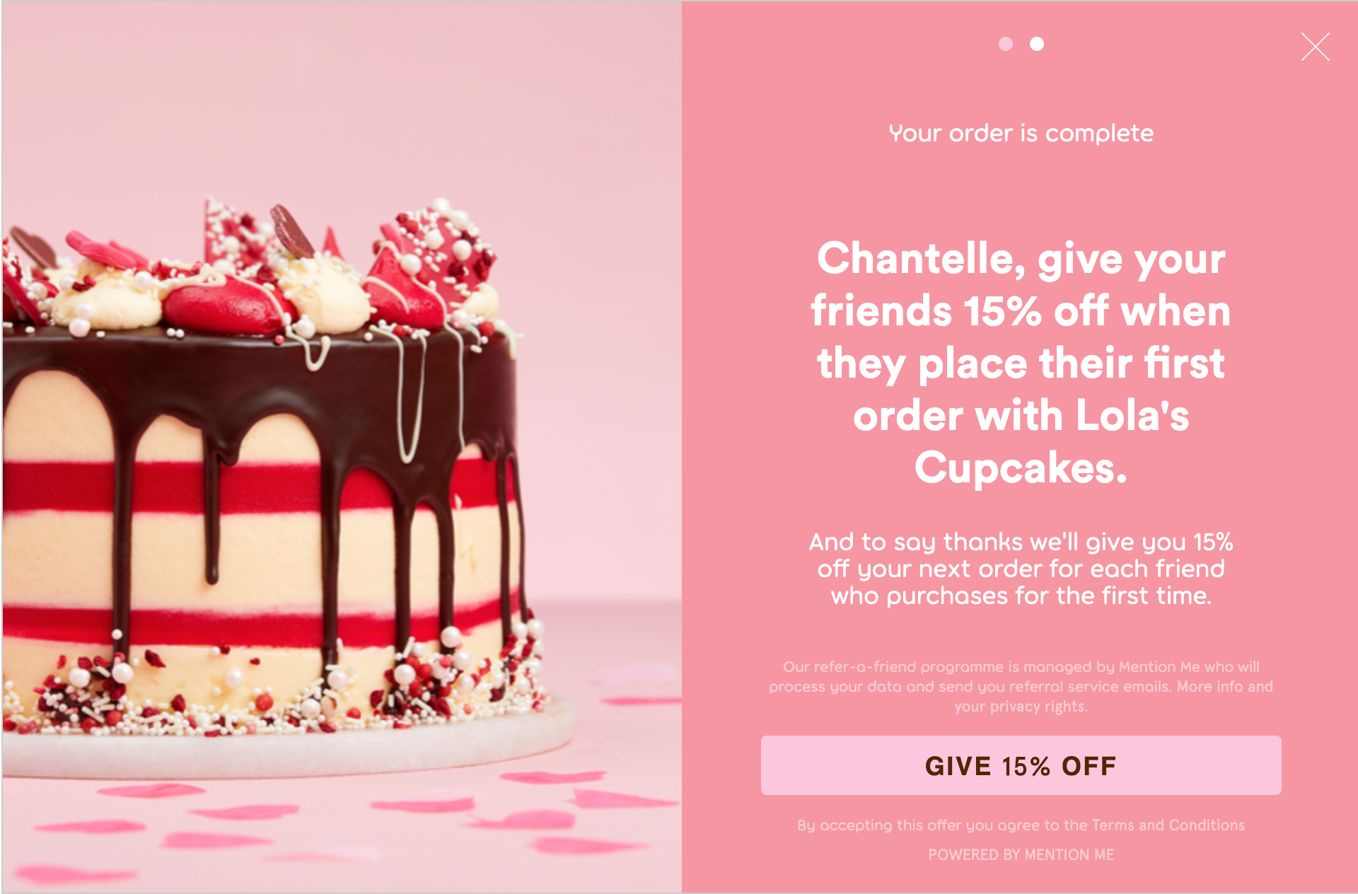 Lolas cupcakes refer a friend Valentines campaign