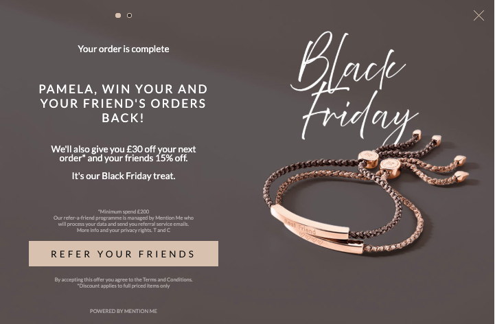 Monica Vinader Black Friday promotion