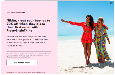 PrettyLittleThing referral programme