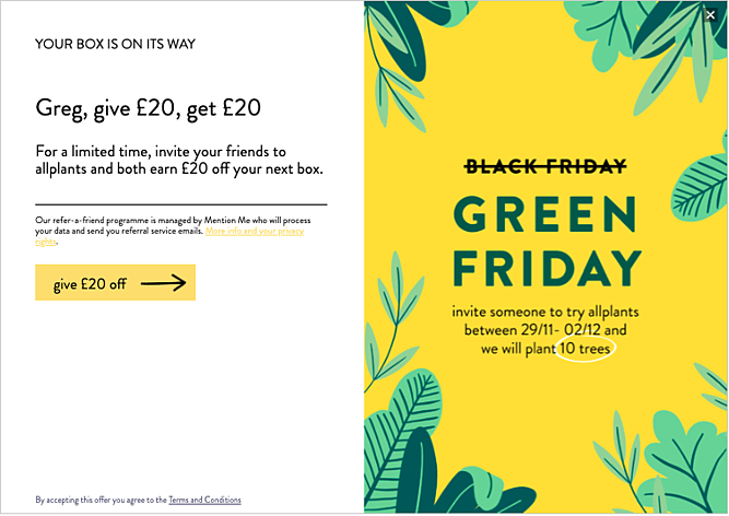 allplants Black Friday referral programme