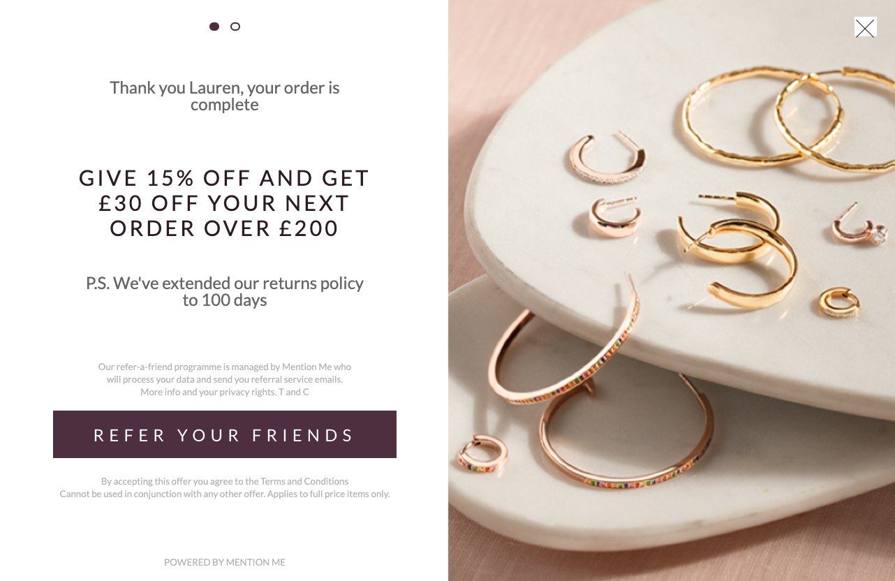 Monica Vinader refer a friend extended returns