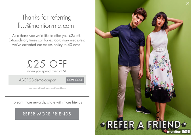 Ted Baker refer-a-friend customer journey