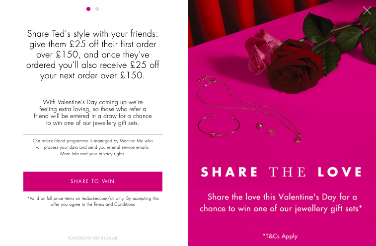 Ted Baker referral Valentines campaign