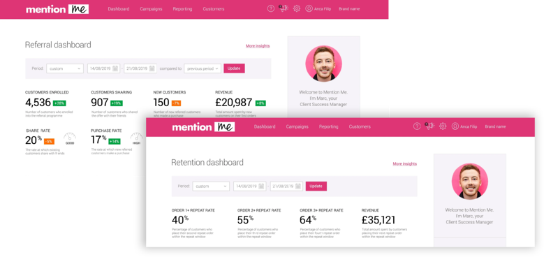 Mention Me referral and retention dashboards