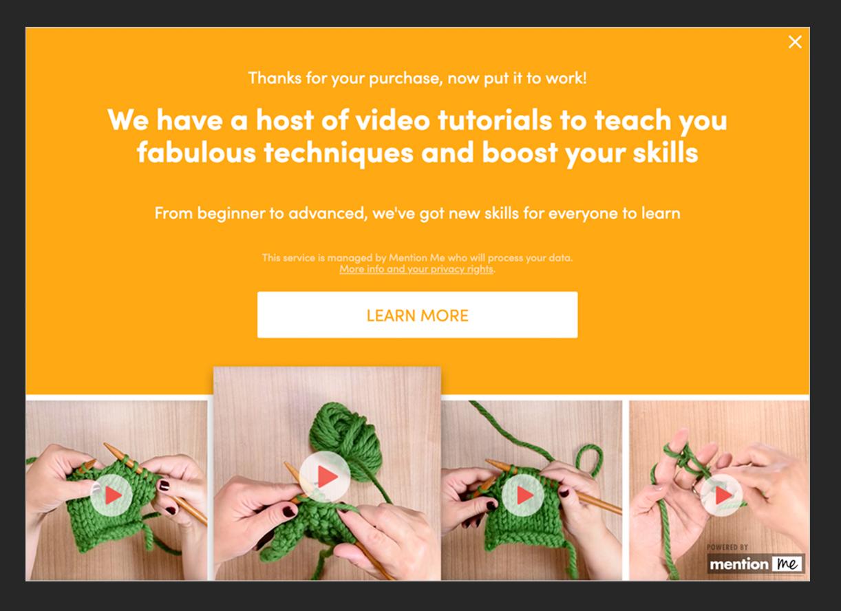 LoveCrafts tutorial message